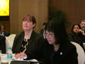 Dr Dee Torrance (left) and Dr Rowena Arshad at the British Council Global Education Dialogue in Delhi